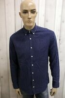 TOMMY HILFIGER Uomo Camicia Chemise Shirt Casual Cotone Manica Lunga Taglia S
