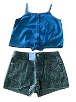 Girls size 12 Blue denim tank top & khaki camo denim shorts Target NEW