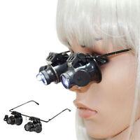 20x Fach Brille Lupenbrille LED Lampe Vergrößerungsglas Lupen Uhrmacher Juwelier