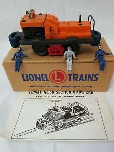 LIONEL POSTWAR 50 GANG CAR w/BOX & INSERT - BLUE BUMPERS w/OFFSET HORN