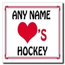 Love Heart Hockey Personalised Coaster