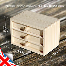 Natural Wooden Box Commode (155x100x105mm) for Jewelry With Three Drawers