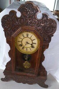 Estate / Barn Find Waterbury Oak Kitchen Clock