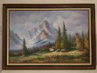 RARE* Vintage VanDerBerg Signed Canvas Painting - Gorgeous Carved Frame.