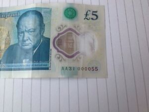 FIVE POUND NOTE POLYMER LOWEST SERIAL ON EBAY. AA31 000055 RAREST NOTE
