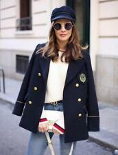 Button Wool Blend Coats & Jackets V-Neckline for Women