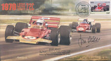1970 LOTUS-COSWORTH 72C & FERRARI 312B HOCKENHEIM F1 cover signed JOHN MILES