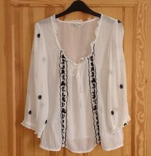 MISS SELFRIDGE Size UK 12 EU38 US8 white sheer cotton embroidered blouse