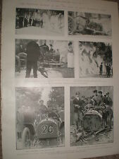 Printed photos motor car death of Count Zboroski at Nice France 1903