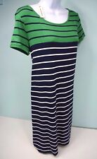 Max Studio Womens  Scoop Neck Tunic / Dress Navy Green Stripe Size: Small NEW