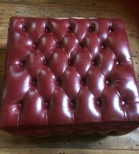 Pouffe Footstool Genuine Leather Chesterfield Buttoned Ottoman Box Storage 60cm