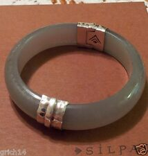Silpada Sterling Silver Gray Resin Engraved Bangle Bracelet B2186  RETIRED NEW!