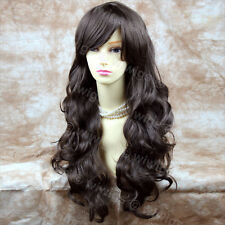 Wiwigs Extra Long Wavy Dark Coffee Brown Bangs Skin Top Ladies Wig