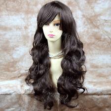 Wiwigs Extra Largo Ondulado Café Oscuro Marrón Flequillo peluca superior señoras de la piel