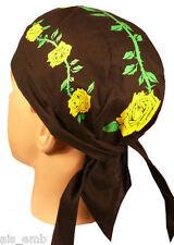 Skull Cap Doo Rag Yellow Rose Motorcycle Biker Cancer Patient Head Wrap Ski Hat