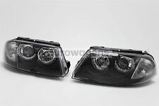 VW Passat B5.5 01-05 Black Angel Eyes Headlights Headlamps Set Pair Left Right