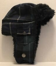 Woolrich Outdoor Aviator Hat Green Plaid Trapper Wool Ear Flaps G