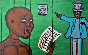 Original BLACK FOLK ART PAINTING Outsider by F.R. LEECH Men STRANGE Election WTF