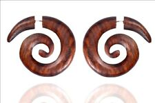 Tibetan Handmade Wooden Craft Tribal African Boho Wood Fake Gauge Erring WER201