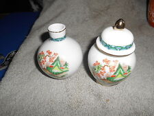 ASIAN COVERED JAR AND BUD VASE ? FROM McCRORY STORES - MADE IN JAPAN