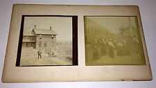 Old Antique Victorian Travel Photos on Board! Train Worker Western Farm House!