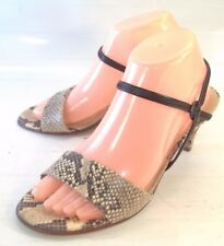 Peter Kaiser Wos Shoes Heels US 8.5 Brown Beige Snake Print Leather Ankle Strap