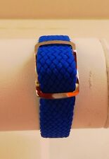 Bracelet Montre Watch Bands Nylon Tressé Style Nato 14 mm Bleu Longueur 22 cm