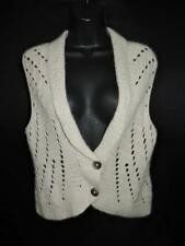 Cabi M Beige Brown Cardigan Sweater Vest Two Button Soft Angora Knit Style 345