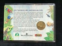 1993 $1 Uncirculated Water Is Life Landcare Clean Rivers RAM Carded Coin