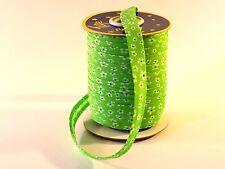 5 Meter Schrägband Grün - Blumen 14mm Einfassband, Kantenband