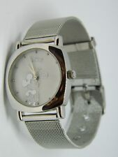 DISNEY MICKEY MOUSE WATCH MOTHER OF PEARL SILVER MESH WOMEN'S LADIES