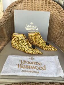 Vivienne Westwood LACE UP Pointed Ankle Boots Yellow & Black Leather  36 UK 2 3