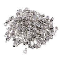 120x Tibetan Silver Mixed Charm Bracelet Hanger Bead Bail Dangle Holder DIY