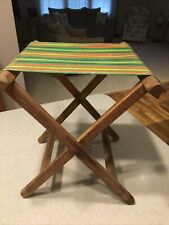 Vintage Folding Camp Stool Wood Awning Stripe Canvas Green Red Yellow...