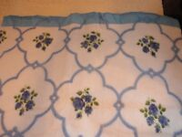 Blanket  Blue Floral w/ Satin Binding 72x90 Vintage 1970's Never Used USA