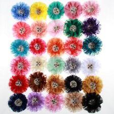 10PCS 10CM  Chiffon Flowers With Big Pearl Rhinestone For Headds Fabric Flowers