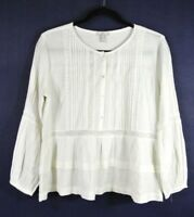 NEW Joie Cotton Half Button Down Peasant Blouse in Ivory - Size XS #T45
