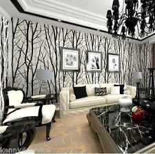 White Silver Arthouse Forest Wood Wallpaper Glitter Birch Tree Branch Roll