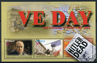 Tuvalu 2005 MNH WWII WW2 VE Day 60th Churchill De Gaulle Hitler 3v M/S Stamps