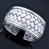 Scott Kay 925 Sterling Silver Wide Basket Weave Cuff Bracelet