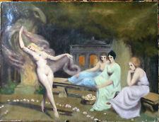 Auteur à identifier, Danse erotique à Babylone, XXe, huile sur toile