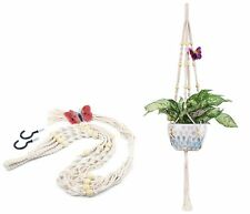 Elegant Cotton Plant Hanger Indoor Outdoor Decor Flower Basket Pot w/ 2 Hooks