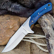 "Timber Rattler BLUE PAKKAWOOD 10"" FULL TANG Hunting Knife / Skinning Knife"
