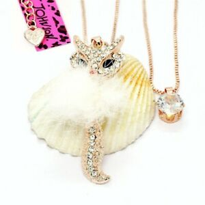 Betsey Johnson Furry Crystal Fox Rose Gold Pendant Chain Necklace Free Gift Bag