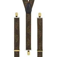 Bronze Gold Peacock Clip On Trouser Braces Elastic Suspenders Handmade in UK