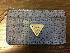 New Blue Guess Signature G Wristlet 100% PU