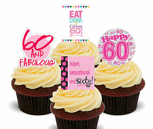 60th Birthday Female Edible Cupcake Toppers - Stand-up Cake Decorations Girl