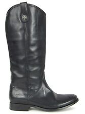 FRYE Boots Melissa Button Black Brush-off Leather Boots 77167 SZ 9.5 $368