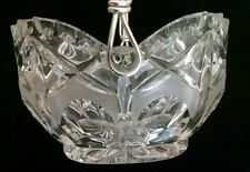 Vintage Lead Crystal Glass Basket Bowl Scalloped Rim and Silver Plated Handle