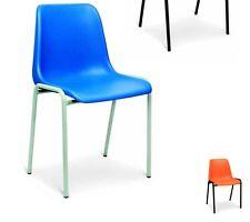 Sedia fissa in plastica mono scocca per ufficio colore blu,nero,rosso,verde